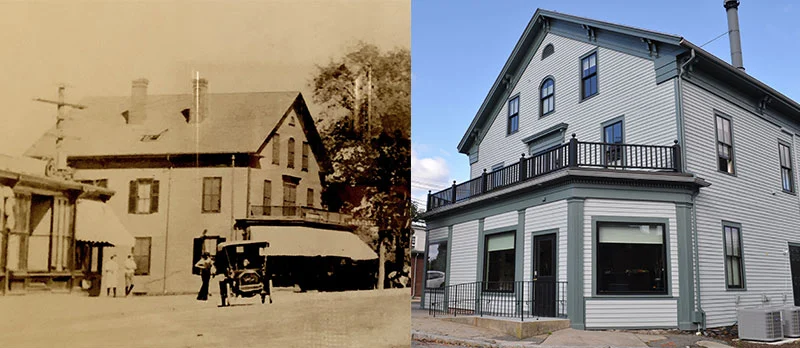 Historic picture alongside current picture of our new office building in Auburndale.
