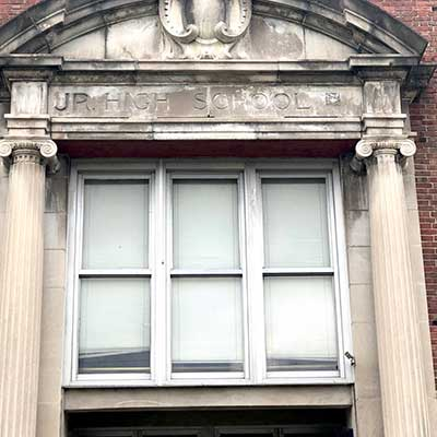 Entrance to old Jr. High School in Shelbyville, Indiana that was turned into low-income apartments